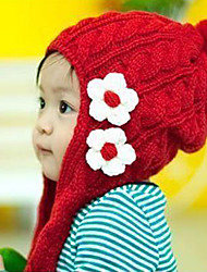 Girl's Knitting Cute Winter Going out/Casual/Daily Red Keep Warm Flower Headgear Baby Hat Children Cap