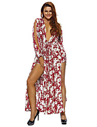 Women's Cranberry White Floral Print Maxi Romper Dress