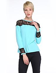 Damen Patchwork T-shirt,Rundhalsausschnitt Frühling Langarm Blau / Weiß Baumwolle / Kunstseide Mittel
