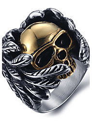 Men's Fashion Punk Style 316L Titanium Steel Vintage Personality Skull Engraved Zircon Statement Rings Casual/Daily 1pc