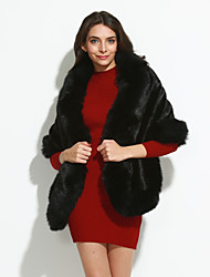 Women's Going out Vintage Fur Coat Winter Red White Black Faux Fur