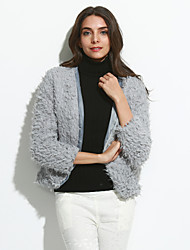 Women's Going out Street chic Coat Round Neck Winter Gray