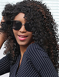 Long Shaggy Side Parting Afro Curly Synthetic Wig