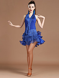 Devemos vestidos de dança latina mulheres espirais cristal / rhinestones vestido alto ruched