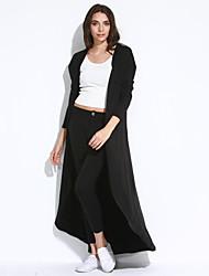 Veste Aux femmes,Couleur Pleine Sortie Vintage Automne Manches Longues Capuche Noir / Vert Coton Fin