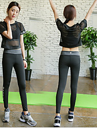 Quick dry loose short sleeved sport outdoor fitness sweat running pants Yoga bra set