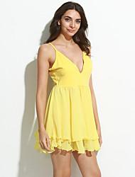 Feminino Evasê / Rodado Vestido Sensual Sólido Com Alças Mini Sem Manga Preto / Amarelo Algodão / Outros Primavera Cintura Média