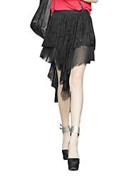 Damen Röcke,A-Linie einfarbig Chiffon Spitze,Lässig/Alltäglich Strand Urlaub Vintage Niedlich Punk & Gothic Mittlere Hüfthöhe Asymmetrisch
