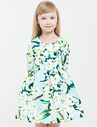 Girls Fashion Autumn New School Safflower Floral Print  Princess Dress