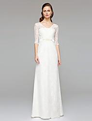 Sheath / Column V-neck Floor Length Lace Wedding Dress with Beading Sash / Ribbon Button by LAN TING BRIDE®