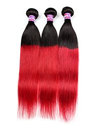 Ombre Indian Hair Straight 1B Red Indian Hair 3 Bundles Indian Hair Weave Bundles Two Tone Human Hair Weave