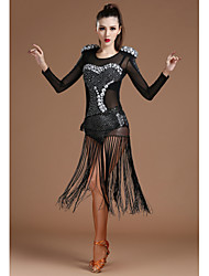 Jazz Leotards Women's Performance Spandex Tulle Crystals/Rhinestones Tassel(s) 2 Pieces Black Long Sleeve Natural Hip Scarf Leotard
