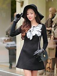 DABUWAWA Women's Going out Casual/Daily Holiday Vintage Punk & Gothic Sophisticated A Line Little Black DressSolid Floral Round Collar