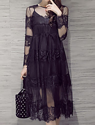 Women's Casual/Daily Simple Lace Dress,Solid Round Neck Midi Long Sleeve Black Rayon Fall Mid Rise Inelastic Medium