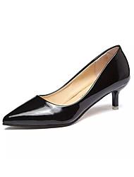 Damen-High Heels-Lässig-PU-Kitten Heel-Absatz-Komfort-Schwarz Rosa Rot Silber