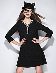 Women's Plus Size Going out Casual/Daily Simple Cute Shift Sheath Dress,Polka Dot Beaded Tassel V Neck Above Knee ¾ Sleeve Cotton Spandex