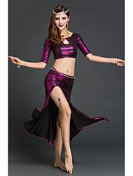 Dança do Ventre Roupa Mulheres Actuação Elastano Plissado 2 Peças Meia manga Natural Saia Topo