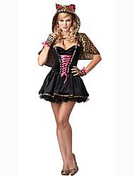 Disfraces de Cosplay Ropa de Fiesta Baile de Máscaras Animal Bunny girl Cosplay Cosplay de Películas Negro Un Color Vestido Sombrero