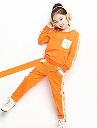 Girl's Cotton Fashion Spring/Fall Going out Casual/Daily Print Long Sleeve Sweater Blouse & Pant Two-piece Set Sport Suit