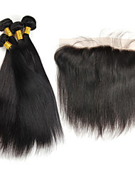 4pcs/lot Malaysian Silk Straight Virgin Hair With Frontal Closure 13*4Ear To Ear Lace Frontal Closure With Bundles