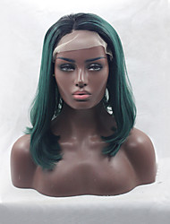 Black Root Heat Resistant Synthetic Lace Front Bob Wigs Straight Hair Ombre Two Tone Black/Dark Green Synthetic Hair Fiber Wigs