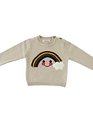 Unisex Going out Casual/Daily Sports Rainbow Jacquard Embroidered Sweater & Cardigan,Cotton Knitwear Winter Spring Fall Long Sleeve