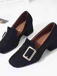 Women's Heels Spring Comfort Suede Casual Chunky Heel Hollow-out Black Light Brown Walking