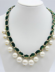 Women's Statement Necklaces Round Pearl Circular Jewelry For Daily Casual