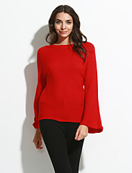 Women's Casual/Daily Simple Regular PulloverSolid Red / White / Yellow Round Neck Long Sleeve