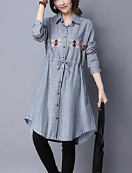 Women's Casual/Daily Vintage Street chic Loose Shirt Dress Striped Embroidered Shirt Collar Asymmetrical  Blue Cotton /Linen Spring /Fall