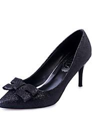 Damen-High Heels-Lässig-Mikrofaser-Stöckelabsatz-Komfort-Schwarz Silber Gold
