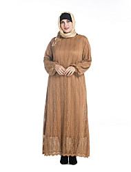 Women's Plus Size Vintage Lace Dress,Solid Round Neck Maxi Long Sleeve Beige Black Green Polyester Spring Mid Rise Micro-elastic Medium