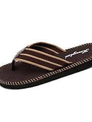 Men's Slippers & Flip-Flops Summer Comfort Fabric Outdoor Casual Flat Heel Stitching Lace Black Brown Walking