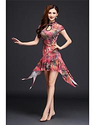Dança do Ventre Vestidos Mulheres Actuação Elastano 1 Peça Manga Curta Alto Vestido
