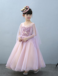 A-Line Ankle Length Flower Girl Dress - Tulle Charmeuse Sleeveless Jewel Neck with Beading