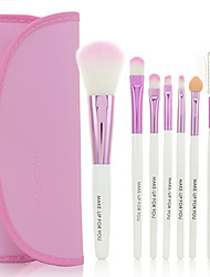 Tragbares 7 teiliges Make-up Kosmetik Pinsel Set (Rosa)