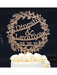 Wedding Cake Topper Custom with Bride and Groom Names Available in Natural Wood Metallic Gold or Silver