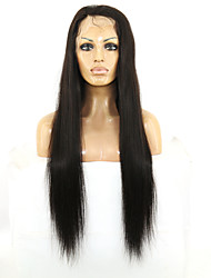 Human Virgin Human Hair Natural Black Color Long Straight Full Lace Wig With Baby Hair