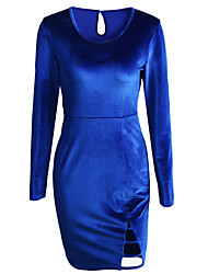 Women's Casual/Daily Sexy Street chic Sheath Dress,Solid Round Neck Mini Long Sleeve Blue Polyester Spring Fall High Rise Inelastic Medium