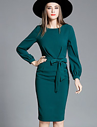 Women's Formal Work Sophisticated Bodycon Dress,Solid Bow Round Neck Knee-length Long Sleeve Polyester Green Summer Fall Mid Rise