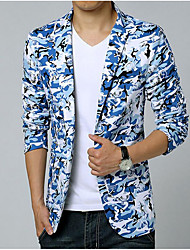 Men's Going out Casual/Daily Simple Spring Summer Blazer,Camouflage Shirt Collar Long Sleeve Regular Cotton