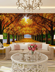 JAMMORY Art DecoWallpaper For Home Wall Covering Canvas Adhesive required Mural Street Yellow Tree XL XXL XXXL