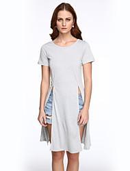 Damen Solide Street Schick Lässig/Alltäglich T-shirt,Rundhalsausschnitt Frühling / Sommer Kurzarm Schwarz / Grau Andere Mittel