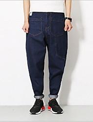 Men's Harem Jeans Pants,Casual/Daily Simple Solid Low Rise Zipper Rabbit Fur Inelastic Fall