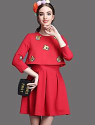 Damen Skater Kleid-Lässig/Alltäglich Einfach Stickerei Rundhalsausschnitt Übers Knie ¾-Arm Rot Schwarz Polyester Sommer Hohe Hüfthöhe