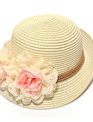 Girl's Fashion Cotton Summer Going out/Casual/Daily Solid Color Lace Flower Sand Beach Headgear Straw Hat Children Cap