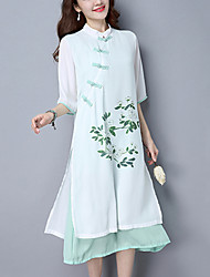 Ample Mousseline de Soie Robe Femme Décontracté / Quotidien Vintage Chinoiserie,Imprimé Mosaïque Mao Midi ½ Manches Blanc Spandex