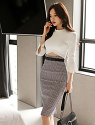 Women's Going out Sexy Bodycon Dress,Solid Polka Dot Striped Round Neck Midi Long Sleeve White Cotton Spring Mid Rise Micro-elastic Medium