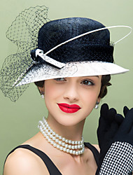 Women's Feather Flax Net Headpiece-Wedding Special Occasion Casual Fascinators Hats 1 Piece