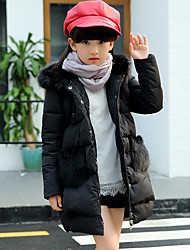 Girl Casual/Daily Solid Down & Cotton Padded,Rayon Winter Long Sleeve Long
